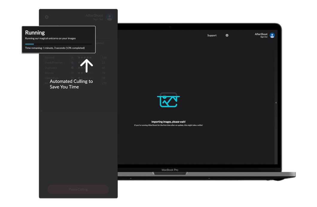 screenshot of AfterShoot photography software photography software auto culling images