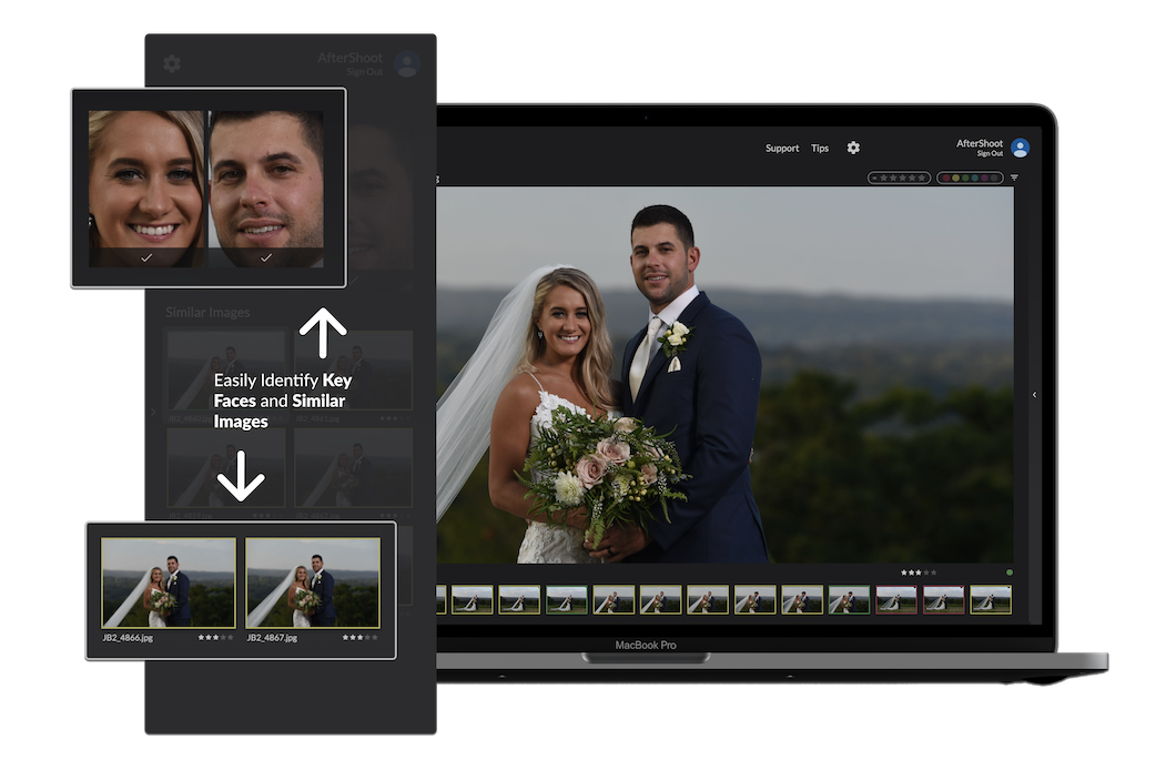 Screenshot of AfterShoot image culling software's Loupe View showing Similar Images and Key Faces